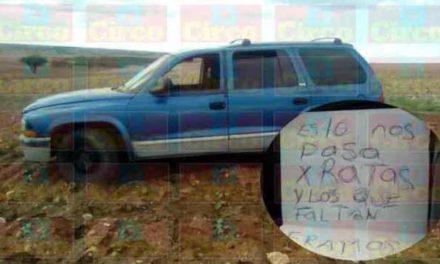 ¡Hallaron a 2 hombres ejecutados y con un narco-mensaje en una camioneta en Río Grande!