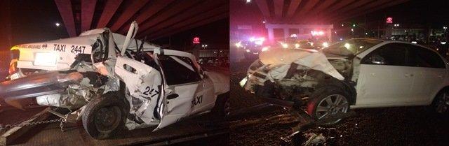 ¡Choque-volcadura entre un auto y un taxi dejó 1 muerto en Aguascalientes!