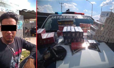 ¡Capturaron elementos de la Policía Estatal de Aguascalientes a sujeto con más de 15 mil cigarros chinos que ingresaron ilegalmente al país!