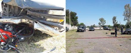 ¡1 muerto y 1 lesionada tras desigual choque entre una camioneta y una motocicleta en Aguascalientes!