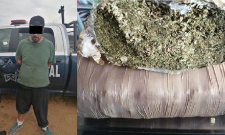 ¡Capturan elementos de la SSPE de Aguascalientes a sujeto con más de un kilogramo de marihuana!