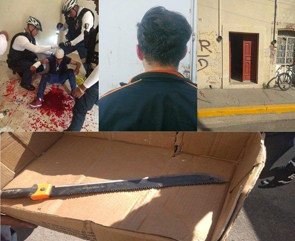 ¡Vecino de Encarnación de Díaz casi asesina a machetazos a un individuo en Aguascalientes!
