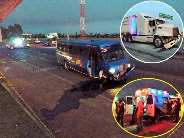 ¡Choque entre un tráiler y un camión de transporte de personal dejó 1 muerto y 18 lesionados en Aguascalientes!