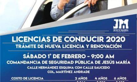¡Habrá en Jesús María programa sabatino de expedición de licencias!