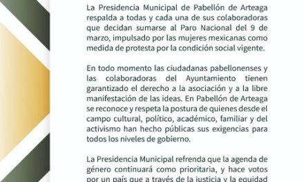 ¡Solidario el Ayuntamiento de Pabellón de Arteaga con convocatoria a Paro Nacional de Mujeres!