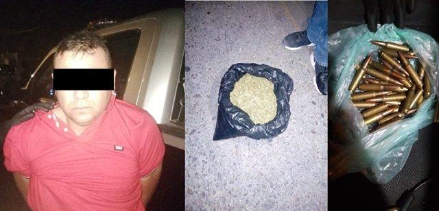 """¡Policías estatales de Aguascalientes detuvieron a sujeto con más de un kilo de marihuana y cartuchos útiles de """"cuerno de chivo""""!"""