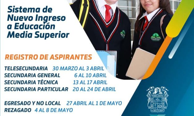 ¡Este lunes inicia Registro en Línea para Nuevo Ingreso a Bachillerato!