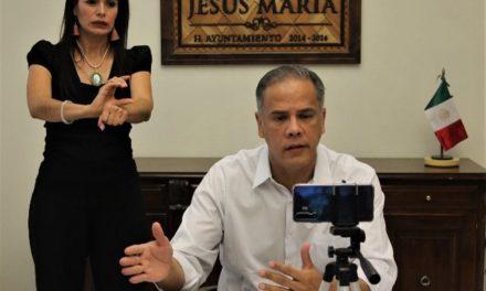 ¡Aplaude presidente municipal de Jesús María respaldo de diputados ante contingencia sanitaria!