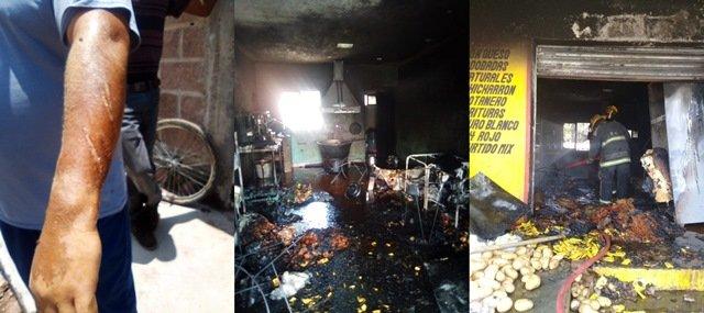 ¡Incendio en negocio de elaboración de papas dejó un lesionado con quemaduras en Aguascalientes!