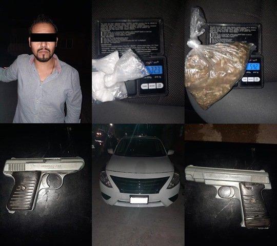 ¡Policías estatales de Aguascalientes detuvieron a un narcomenudista con drogas y dos armas de fuego!