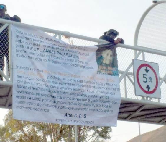 ¡Localizaron dos narco-mantas contra corporaciones policíacas en Zacatecas!