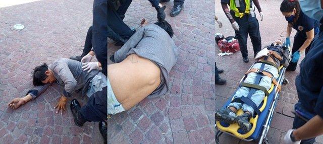 ¡Hombre cayó de 10 metros de altura del Templo de San Diego en Aguascalientes y quedó lesionado!