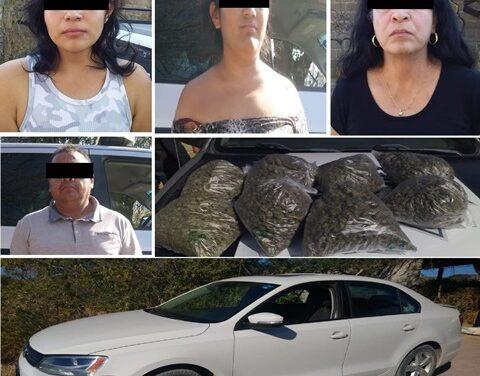 ¡Detuvieron a 3 mujeres y 1 sujeto con 4 kilos de marihuana en Calvillo, Aguascalientes!