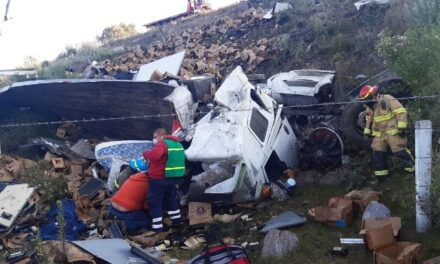 ¡Grave conductor de tráiler cargado con cerveza tras volcar y caer a un barranco en Encarnación de Díaz!