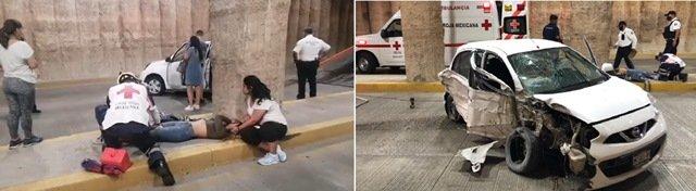 ¡Otro fuerte accidente en un paso a desnivel en Aguascalientes dejó 1 joven lesionada!