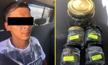 ¡Policías estatales de Aguascalientes detuvieron a sujeto con marihuana de sabores!