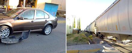 ¡Automovilista adulto mayor se estrelló contra el tren en Aguascalientes!