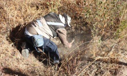 ¡Localizaron una osamenta humana en una fosa clandestina en Luis Moya!