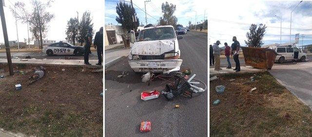 ¡Pepenador murió arrollado por un contenedor de basura impactado por una camioneta en Aguascalientes!