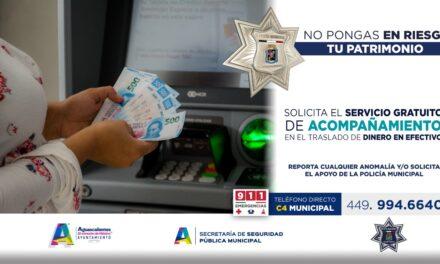 ¡Ofrece Policía Municipal de Aguascalientes servicio gratuito de traslado de valores!