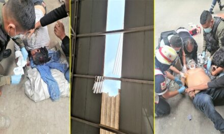 ¡Grave trabajador que sufrió una caída de 7 metros de altura en una bodega en Aguascalientes!