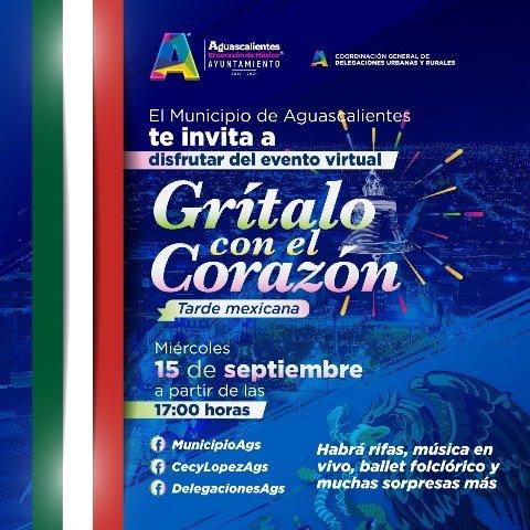 ¡Municipio de Aguascalientes te invita a celebrar el 211 aniversario de la Independencia con programa virtual!